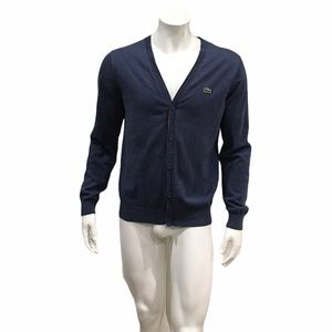 Lacoste Mens Blue Cardigan Sweater